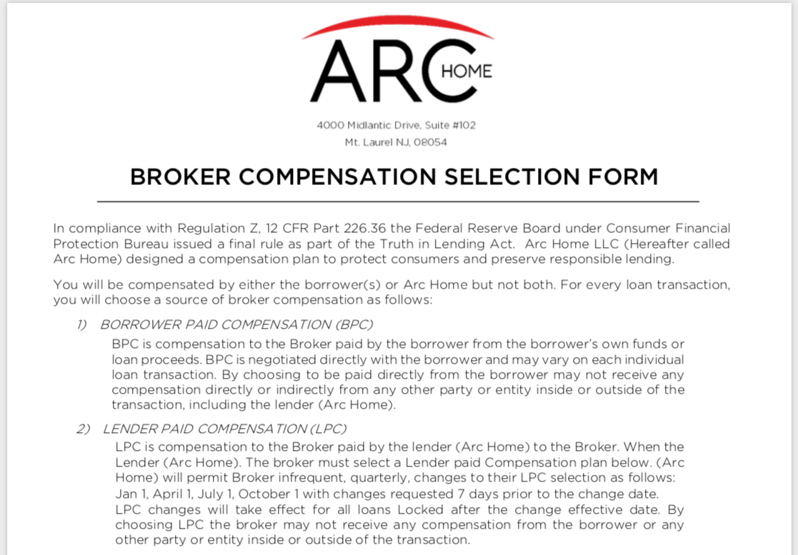 Broker Compensation Selection Form