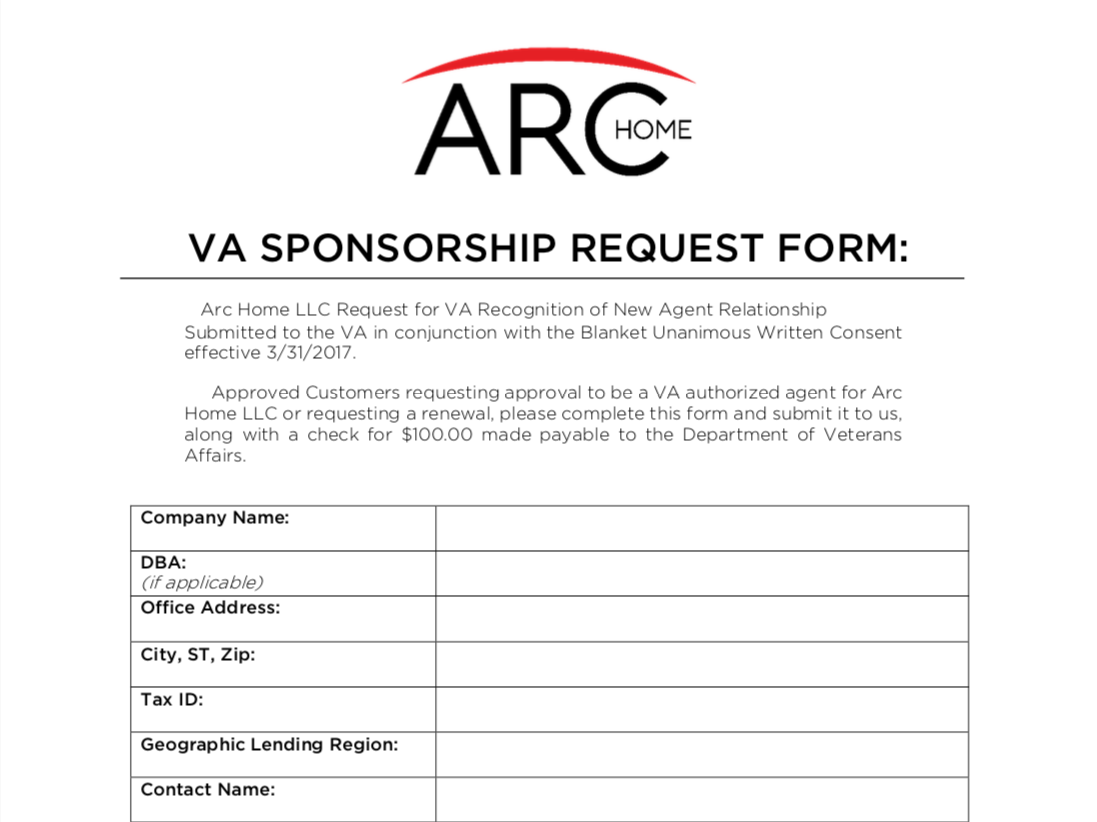 VA Sponsorship Request Form
